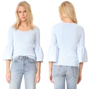 Elizabeth And James Blue Willow Bell Sleeve Top
